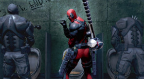Deadpool in the bathroom
