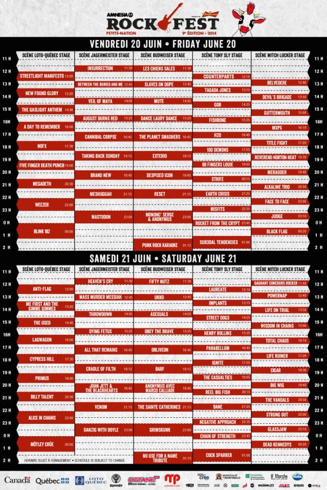 amnesia rockfest 2014 schedule