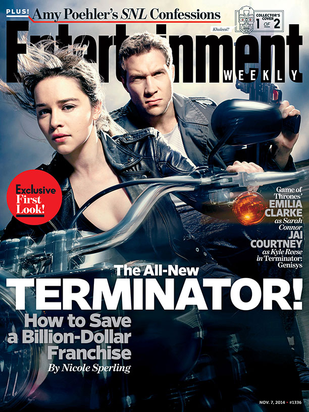 terminator genisys - EMILIA clarke and JAI courtney - EW cover